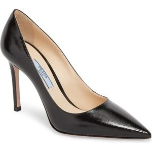 Prada Pump - Patent Hatch Leather - Black - 35.5